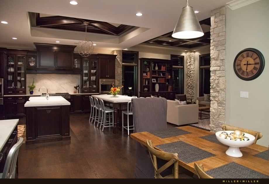 massive open kitchen double island rich mahogany cabinets