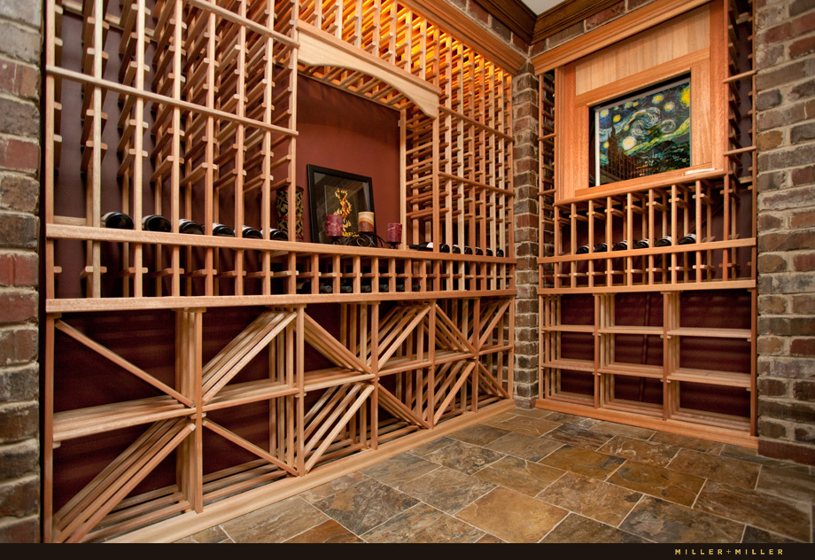 custom brick wood wine cellar