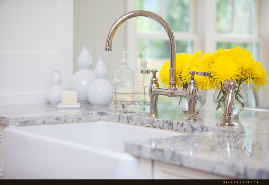 farmhouse sink marble countertop polished nickel faucet