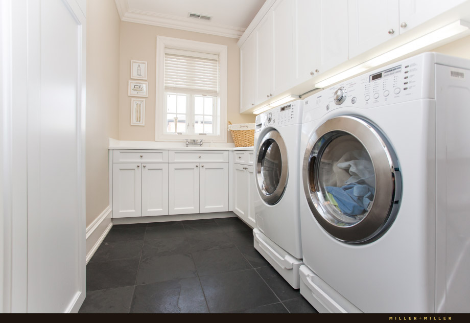 grey slate floor laundry mudroom