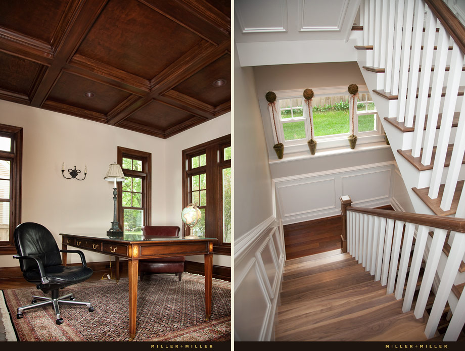 oak coffered ceiling study den