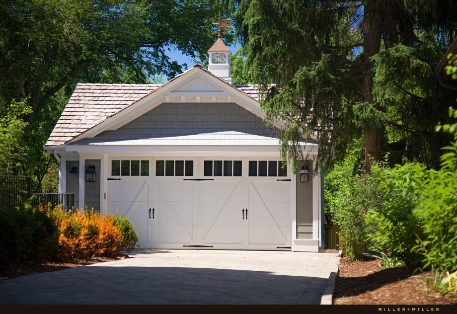 shake shingle carriage house style two-car garage