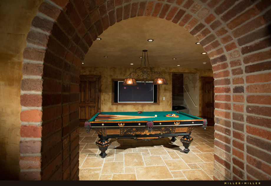 antique billiards table European-style basement