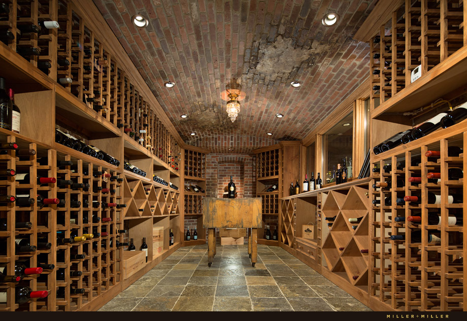 brick European luxury wine cellar