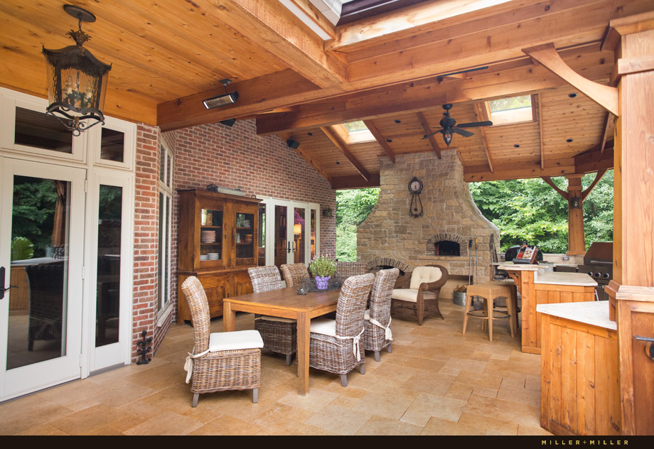 cedar outdoor wood burning fireplace room