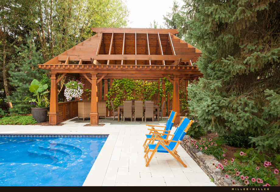 cedar pergola sun deck pool marble patio