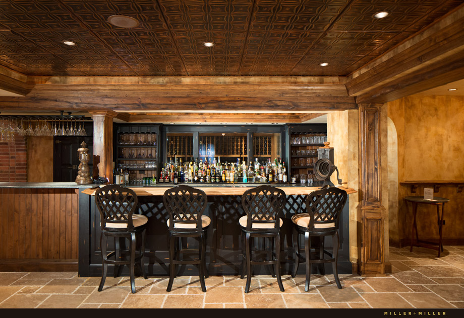 copper ceiling reclaimed wood brick basement professional bar