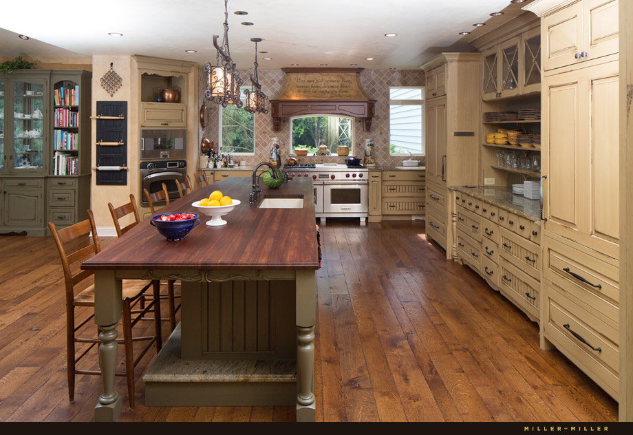 custom kitchen wood countertop island shaker style cabinets