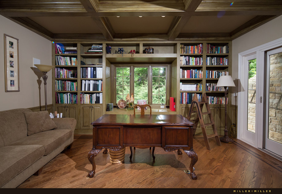 faux finished green coffered ceiling library