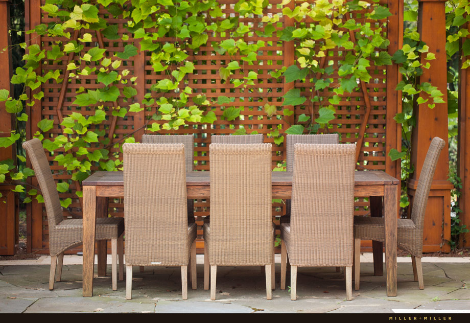grape vine outdoor dining table space blue stone tile