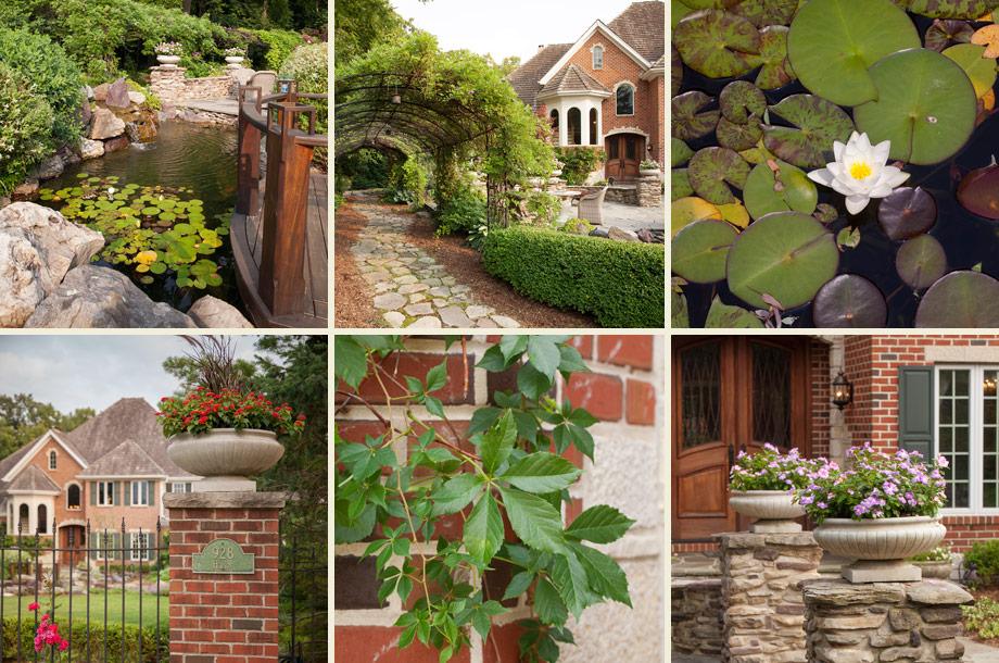 koi pond lily pads mahogany deck hardscape yard