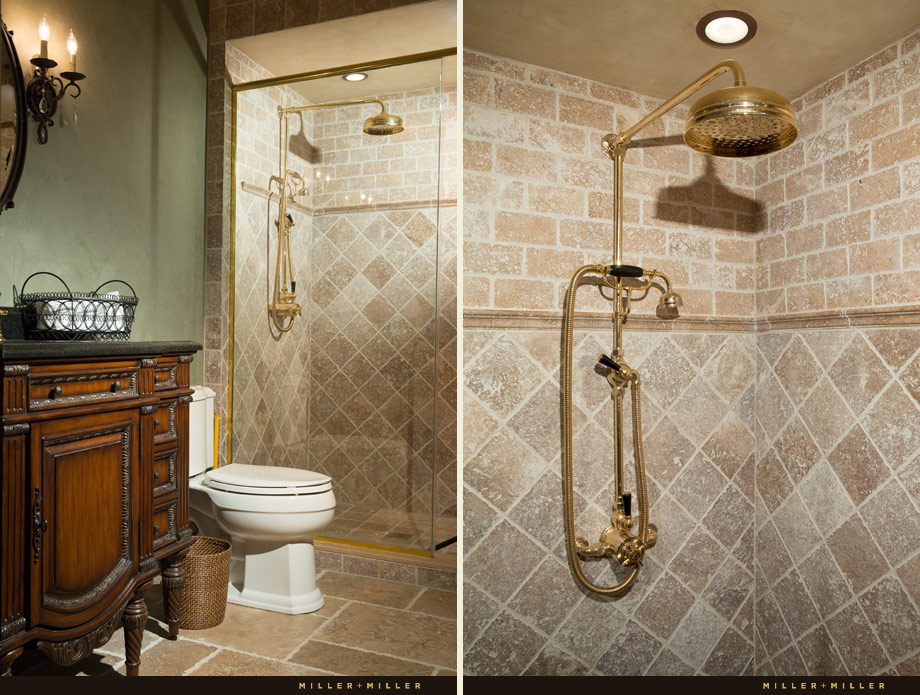Lefroy-Brooks antique gold classic shower