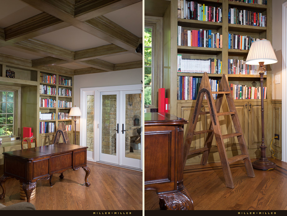 luxury office book shelves ladder