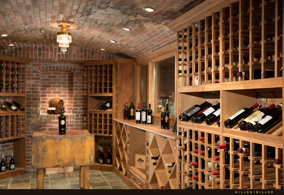 old-world European brick luxury wine cellar