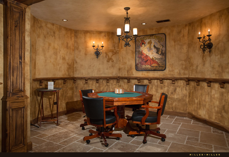 game poker room European faux finish painted walls