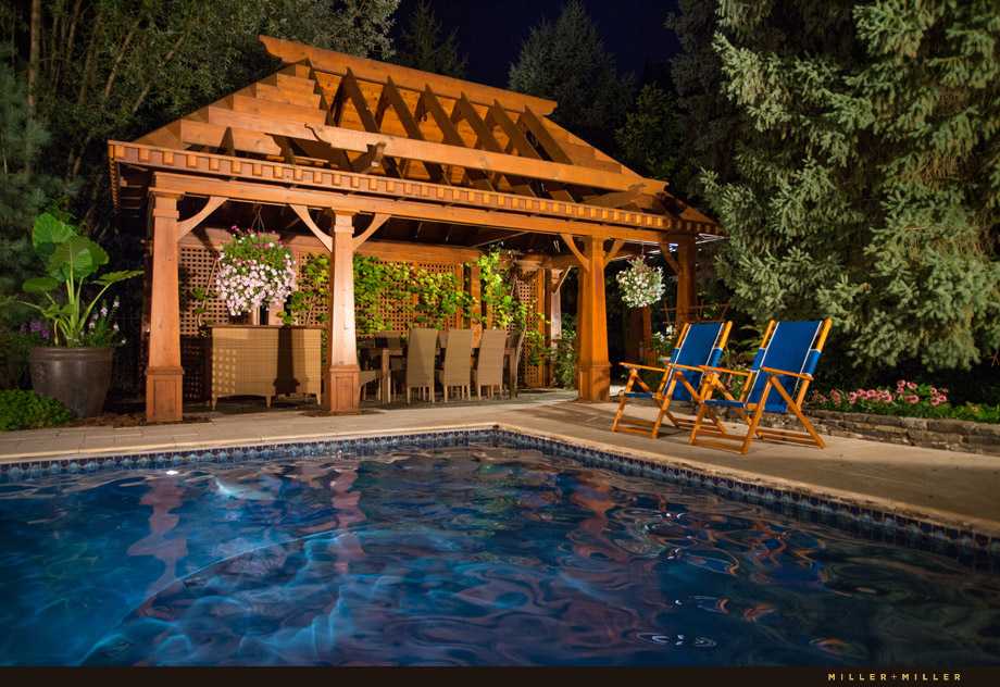 pool-side cabana resort-style pool pergola