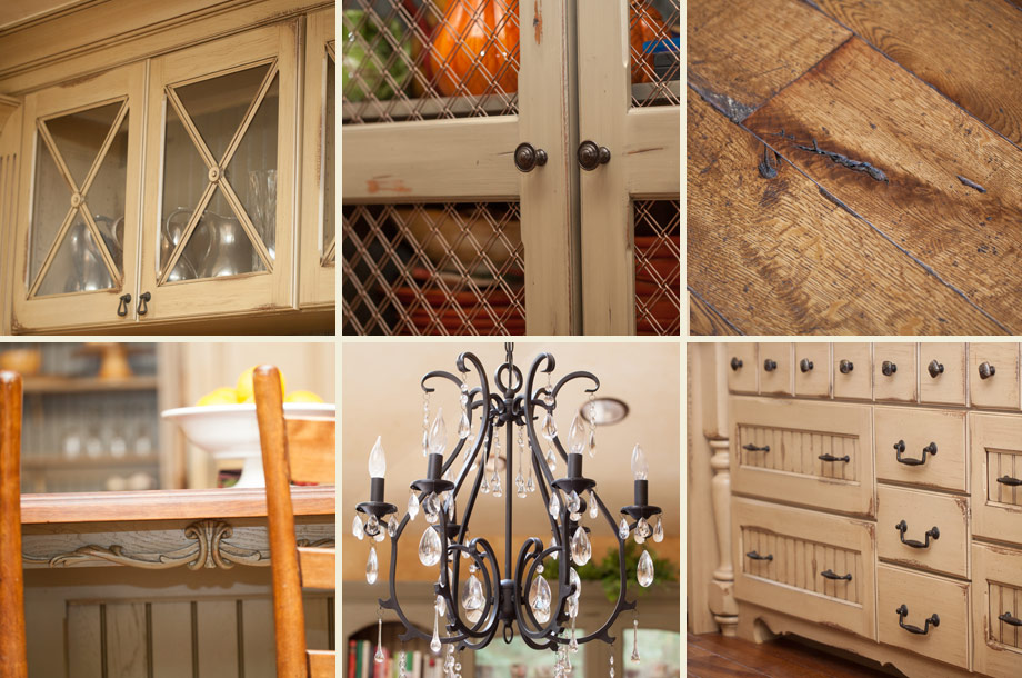 rustic kitchen details knotty floors distressed cabinetry