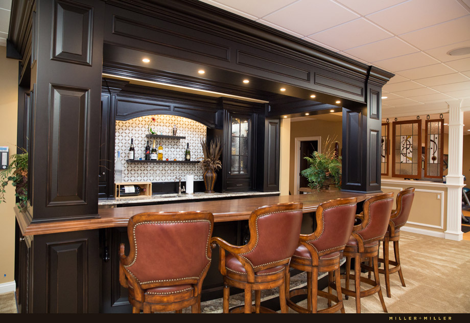 custom amish handcrafted lower level basement bar