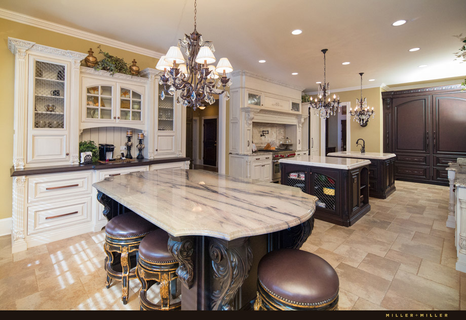 elegant kitchen painted glazed finish marble island
