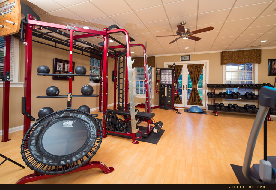 home gym exercise room wood padded floors