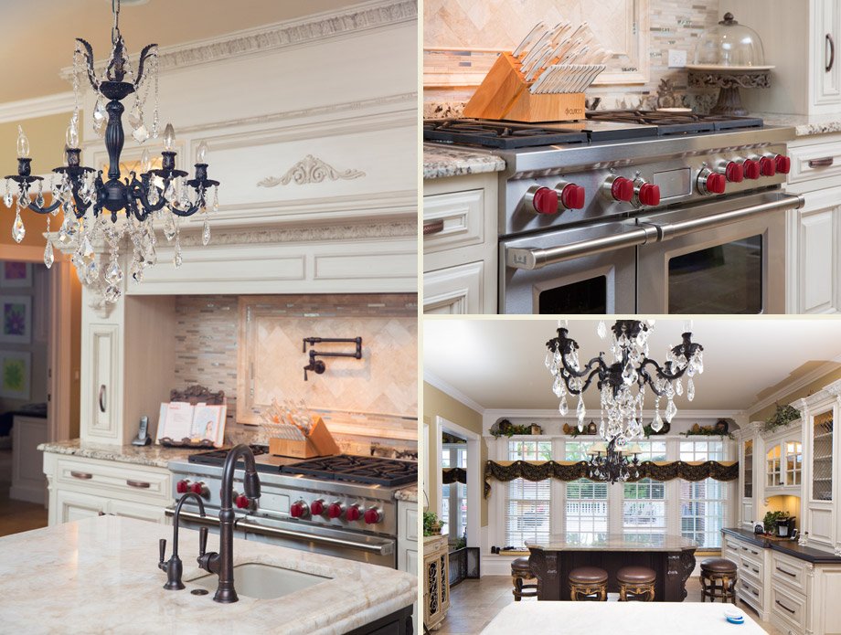 kitchen old world glazed cabinetry marble chandeliers