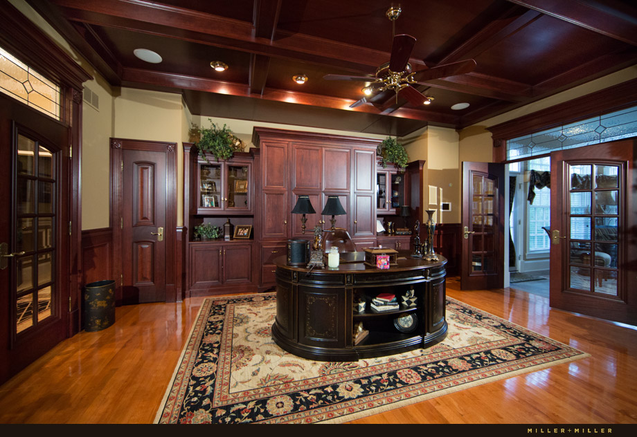 luxurious home cherry wood coffered ceiling office