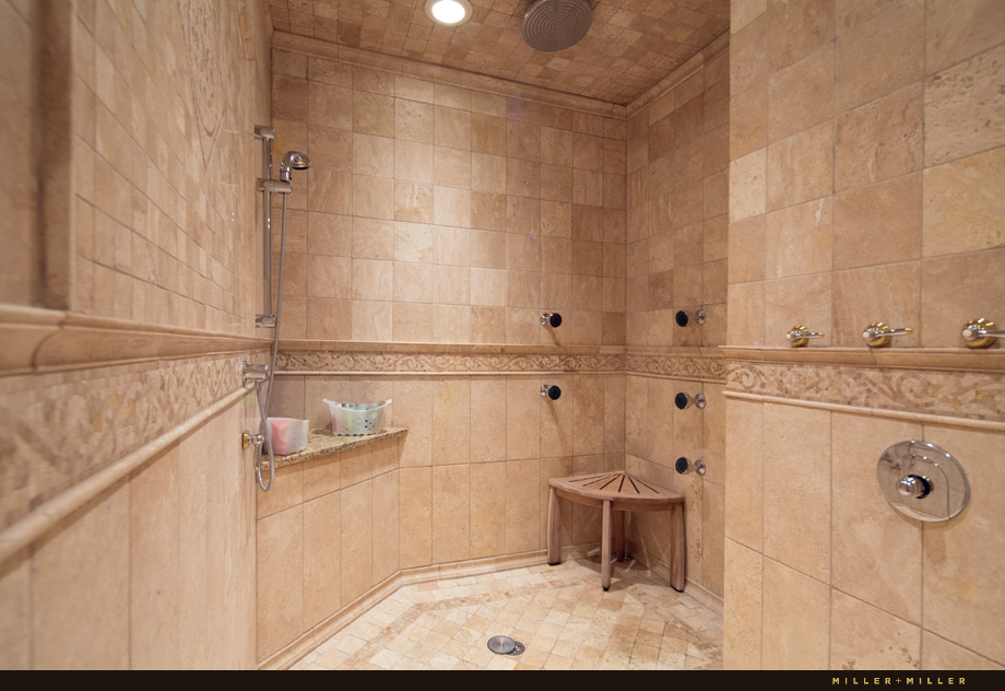 marble mosaic walk in steam multiple shower heads
