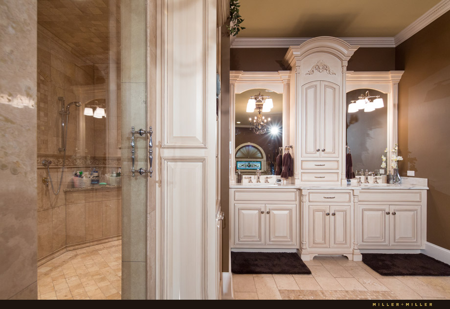 master bath custom old world cream cabinets marble